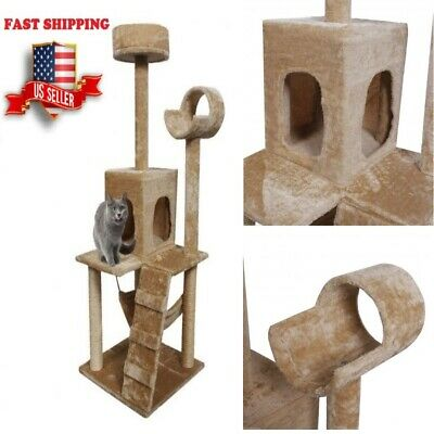 52'' Cat Tree Pet Condo Post House Furniture Toys Scratcher Tower Bed- Beige