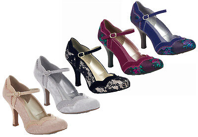 52eecb8c95d Ruby Shoo Imogen Mary Jane Shoes UK 3- 9 Blue Plum Black Silver Gold Lace