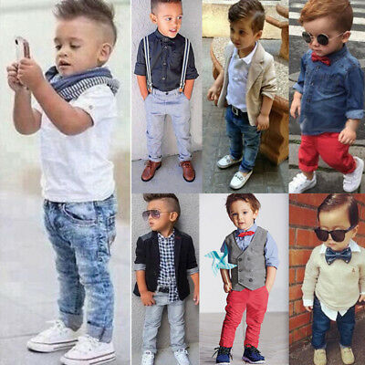 Kinder Jungen Shirt Jacke Mantel Denim Jeans Hose Gentleman Party Outfits Set DE