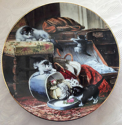 Victorian Cat 1990 Mischief With The Hatbox Collector Plate Henriette Ronner