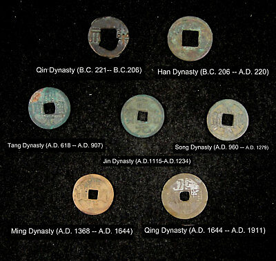 7 Pieces CHINA Ancient Coins Issued by Different Dynasty
