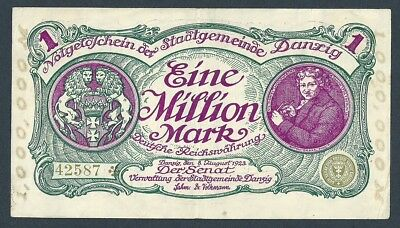 Danzig 1,000,000 Mark 1 Million Mark 1923  Vf+ Pick#24 Rare