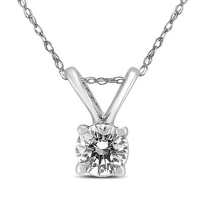 1/4 Carat AGS Certified Round Diamond Solitaire Pendant in 14K White Gold