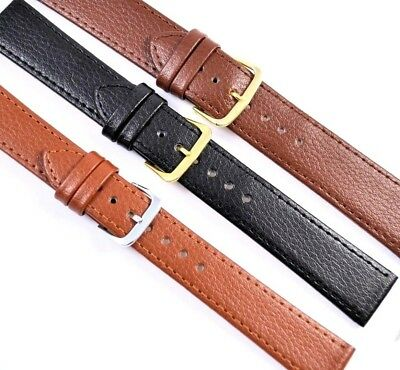 Mens Finest Genuine Leather Watch Strap, Buffalo Grain Black, Brown, 18, 20, 22