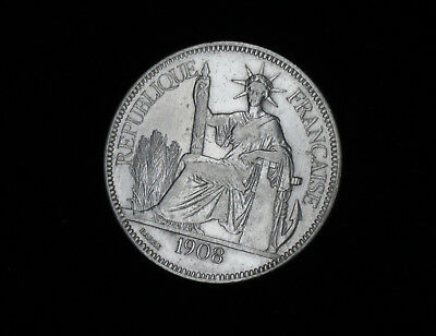 Französisch Indochina Piaster 1908 Piastre de Commerce Republique Francaise