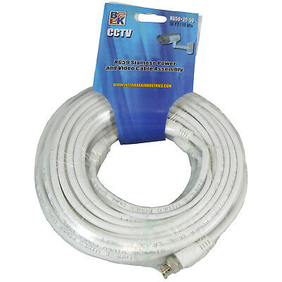 BK RG59 Heavy Shielded 50' Ft Siamese Power Coaxial Video Cable -White