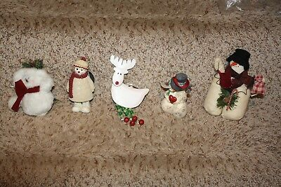 Country Primitive Rustic Folk Art Snowman Reindeer Ornaments Lot of 5 NWT NEW