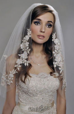 New White/Ivory 2-Layer Elbow Length Applique Edge Wedding Bridal Veil With Comb