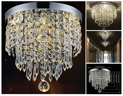 Small Crystal Lamp Chandelier Vintage Modern Ceiling Fixture Pendant Light New