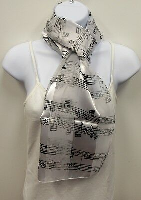 Wholesale Scarf Lot 6 White Scarves With Black Sheet Music Note Print  # 17581