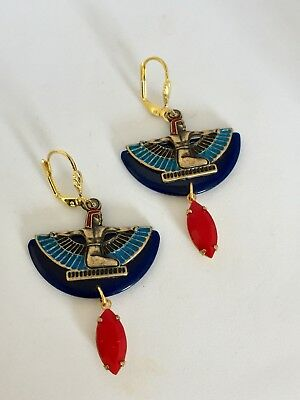 Art Deco Egyptian Revival Blue Bakelite Winged Isis Statement Earrings