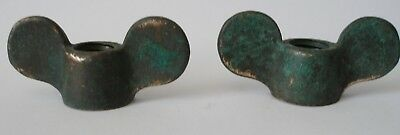 Pair Antique bronze porthole,  dog ears, wing nuts, porthole parts nautical