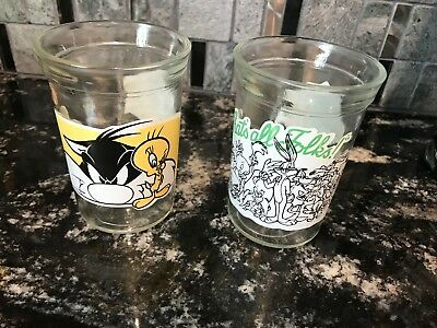2 Welch's Looney Tunes Jelly Glasses #6 Sylvester & Tweety  #12 That's All Folks