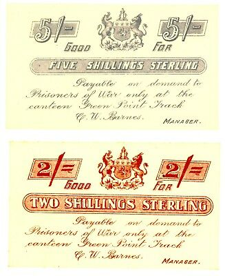South Africa / Boer War .. 2-5 Shillings .. ND(1899-1902) . Ch*UNC*. Pair/ P.O.W