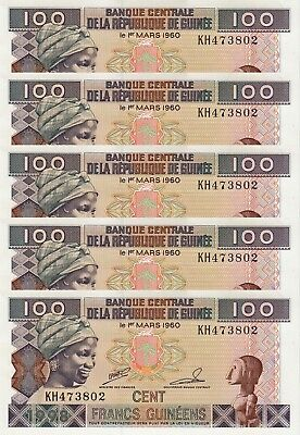 LOT, Guinea 100 Francs (1998) p35 x 5 PCS UNC