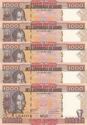 LOT, Guinea 1000 Francs (2006) p40 x 5 PCS UNC