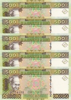 LOT, Guinea 500 Francs (2006) p39a x 5 PCS UNC