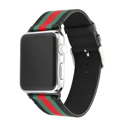 42mm RedGreenBlack Apple Watch Band Strap Replacement Wrist Brace Gucci Pattern