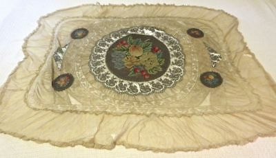 ANTIQUE 19th CENTURY TAPESTRY ON LACE & NET TABLE CLOTH FRUIT PETIT POINT