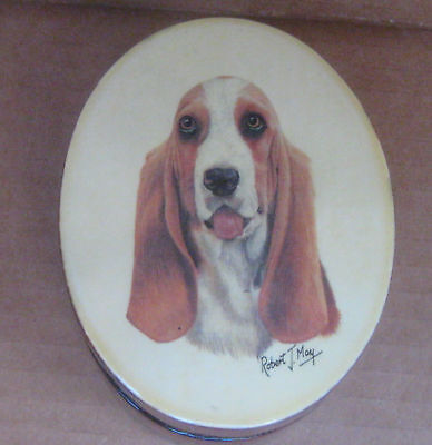 Basset Hound Dog by Robert J May- Small Oval Lacquered Box Trinket Jewery 4x3x2