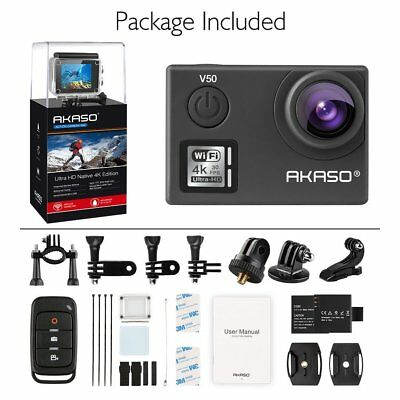 AKASO V50 Native 4K 20MP WiFi Action Camera w/ Remote Controller 30m Waterproof