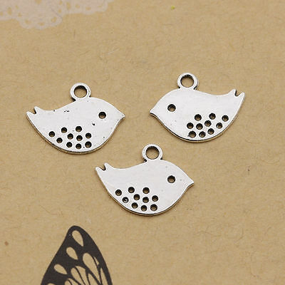 40/500Pcs Retro Style Tibet Silver Lovely Bird Charms Pendant Jewelry Findings