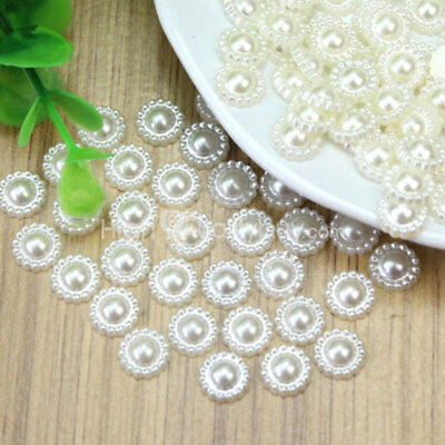 100 Pcs Ivory Faux Pearl Flower Beads Wedding Party Cards Embellishments New