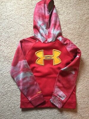 BOYS UNDER ARMOUR Red/Gray Storm HOODIE SWEATSHIRT SIZE YOUTH Small