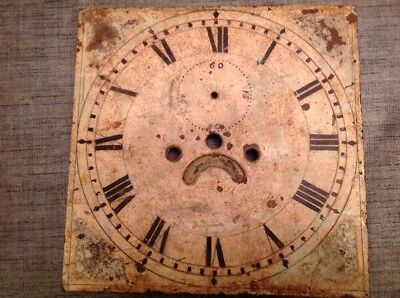 Antique Grandfather Long Case Clock Dial Unrestored Uncleared 12x12""