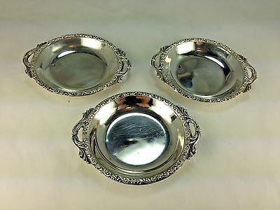 Antique Turkish Set Of Three Silver Butter Pat Dishes Stamped 900