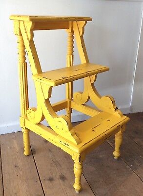 Painted and Distressed Vintage Library Steps / Side Table / Plant Stand