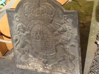 Vtg English Cast Iron Fireback by Thomas Elsley, 19th Century Lion and Unicorn