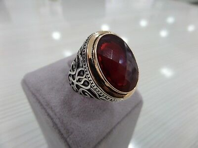 Handcraft 925 Sterling Silver Jewelry Ruby Gemstone Men's Ring All Size.