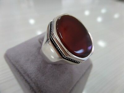 Handcraft 925 Sterling Silver Jewelry Carnelian Gemstone Men's Ring All Size.