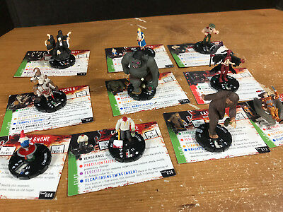Horrorclix lot of 10 figures/cards Sasquatch Grendel Guillotine Lawn Gnome