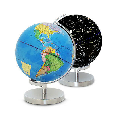 2-in-1 25cm World Map & Illuminated Constellation Rotating Globe Home Decor