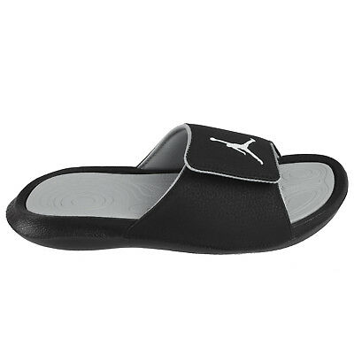 5e6885e1f3dd Jordan Hydro 6 Big Kids 881474-011 Black Wolf Grey Logo Slide Sandals Size 4