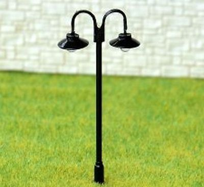 611 Double black Lampposts - white LEDS - Approx 6.5cm high (pack of 6)