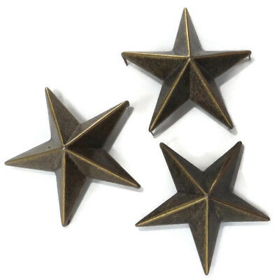 5,10 or 15 Large 40mm Metal Star Studs - Antique Brass Colour Nail Head Fixing