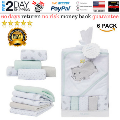 Baby Hooded Bath Towel Washcloth Set Terrific Eco-Friendly (5+1 Gift Pack) NEW