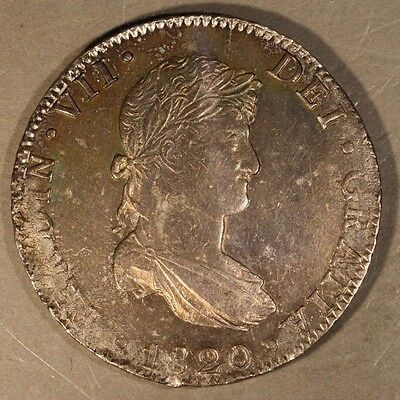 1820 Mo JJ Mexico 8 Reales Very High Grade Orig Toning  ** FREE U.S SHIPPING **