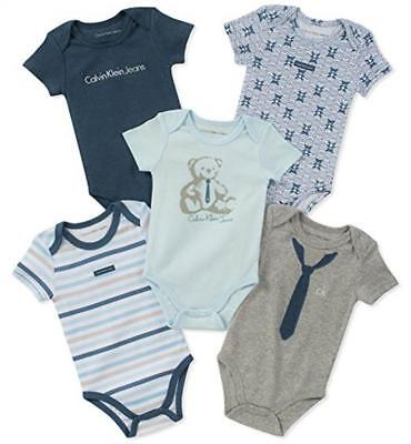 Calvin Klein Infant Boys Teddy Bear 5 Pack Bodysuits Size 0/3M 3/6M 6/9M $42