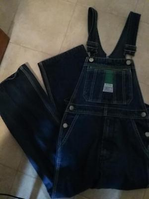 EUC Girls Boys YOUTH 10 LIBERTY Bib long OVERALLS blue jean Denim Pants pockets
