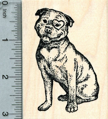Valentine's Day Pit Bull Rubber Stamp, Dog with Heart Markings K33502 WM