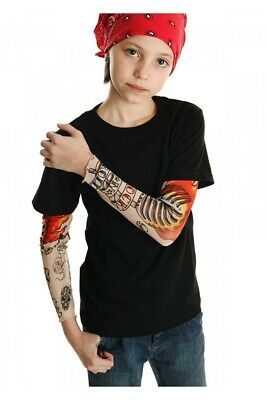Rock N Roll Tattoo Black Tee Shirt Kids Cool Tattoo Sleeves Fun Gift Punk Music