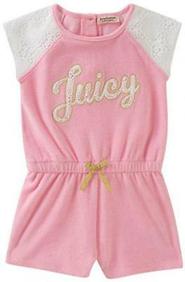 Juicy Couture Big Girls Pink Romper Size 7 8/10 12 $75