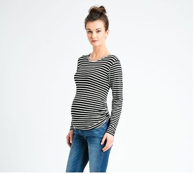 3b8664f8cd685 New JoJo Maman Bebe Maternity Black Breton Stripe, Long Sleeve Top Small 4 6