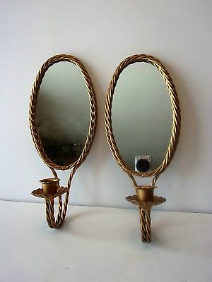 Two Vintage Homco Twisted Gold Tone Braided Metal Mirror Candle Sconce Wall