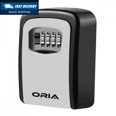 Oria Key Lock Box, Wall Mounted Storage 4-Digit Combination Safe to Share...