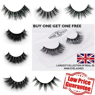 3D Mink Eyelashes 1 to 10 Pairs Thick Long Handmade Fashion/Glamour/Natural